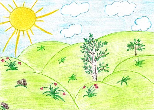 рисунки карандашом для начинающих пейзаж: