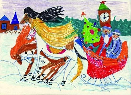 детские рисунки с новым годом обезьяны